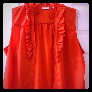 Fire orange sleeveless blouse